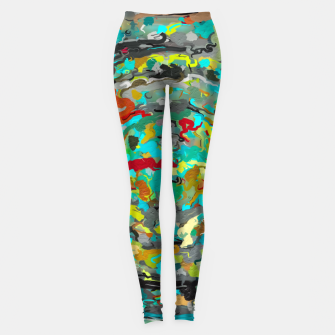 Thumbnail image of psychedelic circle pattern painting abstract background in green blue yellow brown Leggings, Live Heroes