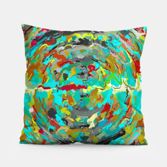 Thumbnail image of psychedelic circle pattern painting abstract background in green blue yellow brown Pillow, Live Heroes