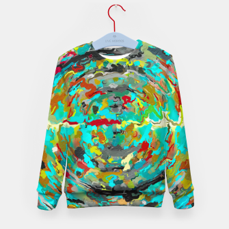 Thumbnail image of psychedelic circle pattern painting abstract background in green blue yellow brown Kid's sweater, Live Heroes