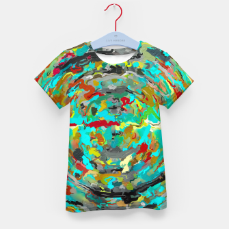 Thumbnail image of psychedelic circle pattern painting abstract background in green blue yellow brown Kid's t-shirt, Live Heroes