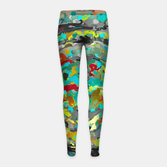 Thumbnail image of psychedelic circle pattern painting abstract background in green blue yellow brown Girl's leggings, Live Heroes