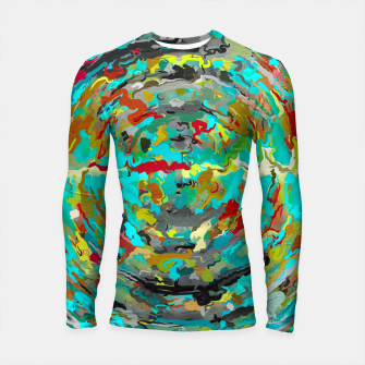 Thumbnail image of psychedelic circle pattern painting abstract background in green blue yellow brown Longsleeve rashguard , Live Heroes