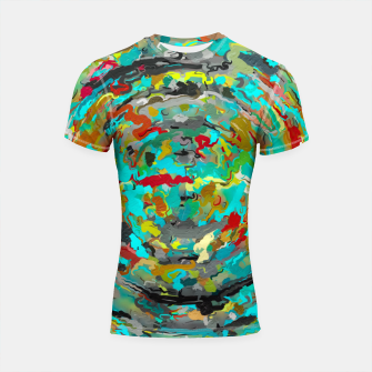 Thumbnail image of psychedelic circle pattern painting abstract background in green blue yellow brown Shortsleeve rashguard, Live Heroes