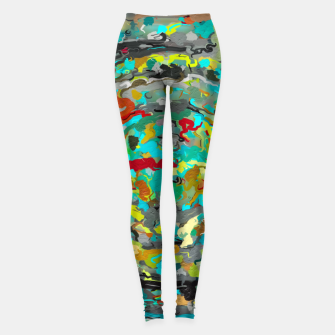 Miniatur psychedelic circle pattern painting abstract background in green blue yellow brown Leggings, Live Heroes