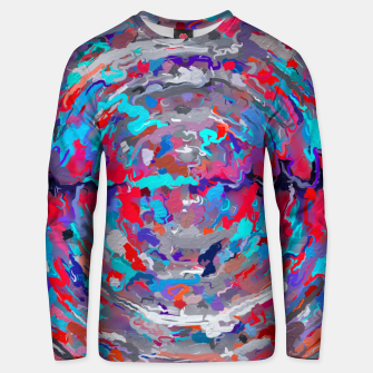 Miniatur psychedelic circle pattern painting abstract background in blue red purple Unisex sweater, Live Heroes