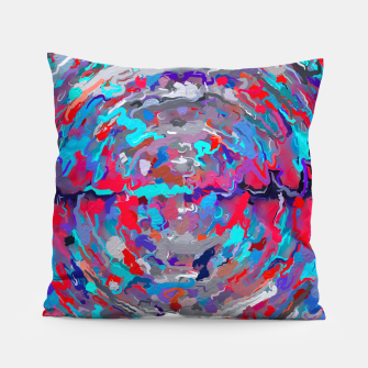 Thumbnail image of psychedelic circle pattern painting abstract background in blue red purple Pillow, Live Heroes