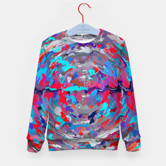Thumbnail image of psychedelic circle pattern painting abstract background in blue red purple Kid's sweater, Live Heroes