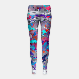 Thumbnail image of psychedelic circle pattern painting abstract background in blue red purple Girl's leggings, Live Heroes