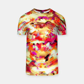 Thumbnail image of psychedelic circle pattern painting abstract background in red pink orange T-shirt, Live Heroes