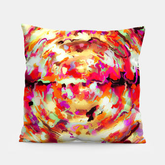 Thumbnail image of psychedelic circle pattern painting abstract background in red pink orange Pillow, Live Heroes