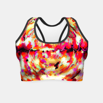 Miniatur psychedelic circle pattern painting abstract background in red pink orange Crop Top, Live Heroes