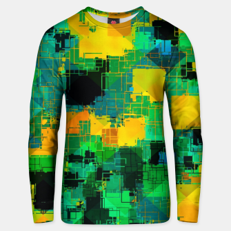 Thumbnail image of geometric square pattern abstract in green and yellow Unisex sweater, Live Heroes