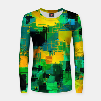 Thumbnail image of geometric square pattern abstract in green and yellow Women sweater, Live Heroes