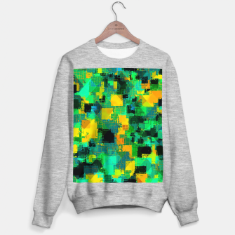 Thumbnail image of geometric square pattern abstract in green and yellow Sweater regular, Live Heroes