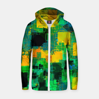 Thumbnail image of geometric square pattern abstract in green and yellow Zip up hoodie, Live Heroes