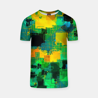Thumbnail image of geometric square pattern abstract in green and yellow T-shirt, Live Heroes