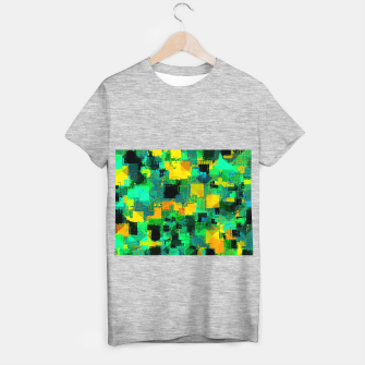 Thumbnail image of geometric square pattern abstract in green and yellow T-shirt regular, Live Heroes