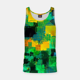 Thumbnail image of geometric square pattern abstract in green and yellow Tank Top, Live Heroes