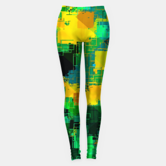 Thumbnail image of geometric square pattern abstract in green and yellow Leggings, Live Heroes