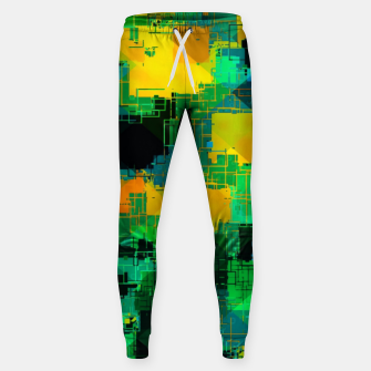 Thumbnail image of geometric square pattern abstract in green and yellow Sweatpants, Live Heroes