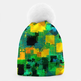 Thumbnail image of geometric square pattern abstract in green and yellow Beanie, Live Heroes
