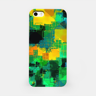 Thumbnail image of geometric square pattern abstract in green and yellow iPhone Case, Live Heroes