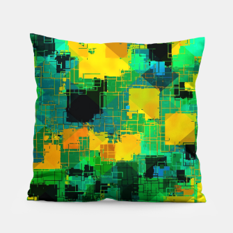 Thumbnail image of geometric square pattern abstract in green and yellow Pillow, Live Heroes