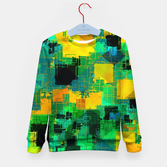 Thumbnail image of geometric square pattern abstract in green and yellow Kid's sweater, Live Heroes