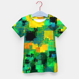 Thumbnail image of geometric square pattern abstract in green and yellow Kid's t-shirt, Live Heroes