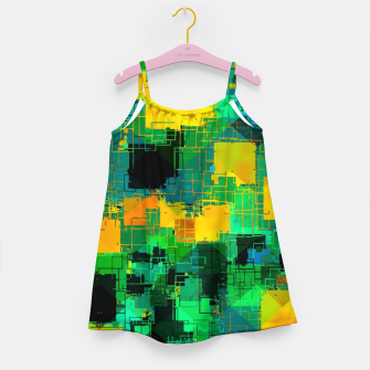 Thumbnail image of geometric square pattern abstract in green and yellow Girl's dress, Live Heroes
