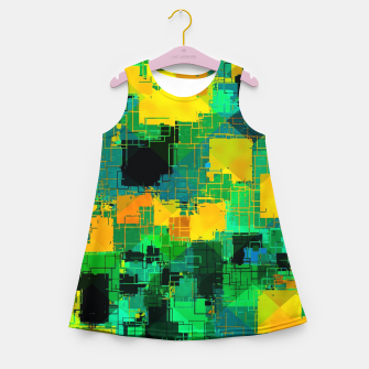 Thumbnail image of geometric square pattern abstract in green and yellow Girl's summer dress, Live Heroes