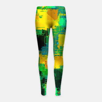 Thumbnail image of geometric square pattern abstract in green and yellow Girl's leggings, Live Heroes