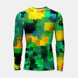 Thumbnail image of geometric square pattern abstract in green and yellow Longsleeve rashguard , Live Heroes