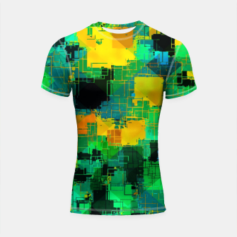 Thumbnail image of geometric square pattern abstract in green and yellow Shortsleeve rashguard, Live Heroes