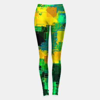 Miniatur geometric square pattern abstract in green and yellow Leggings, Live Heroes