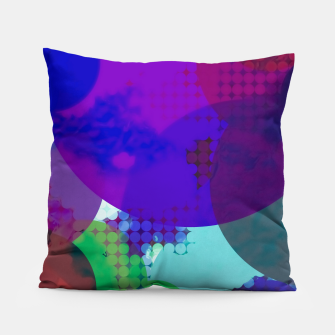 Thumbnail image of geometric circle pattern abstract in blue purple pink Pillow, Live Heroes