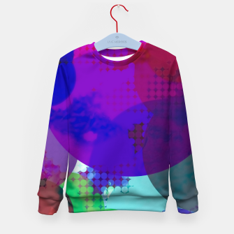Thumbnail image of geometric circle pattern abstract in blue purple pink Kid's sweater, Live Heroes