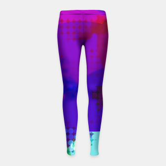Thumbnail image of geometric circle pattern abstract in blue purple pink Girl's leggings, Live Heroes