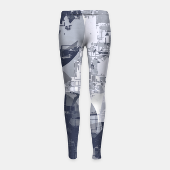 Thumbnail image of geometric circle pattern abstract in black and white Girl's leggings, Live Heroes