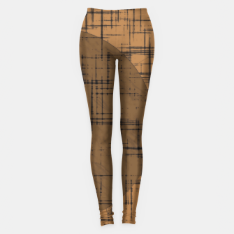 Thumbnail image of geometric square and circle pattern in brown Leggings, Live Heroes