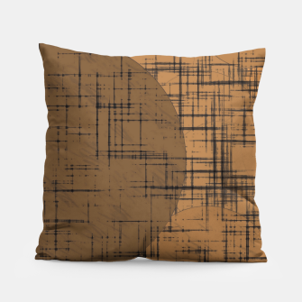 Thumbnail image of geometric square and circle pattern in brown Pillow, Live Heroes