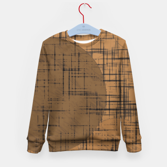 Thumbnail image of geometric square and circle pattern in brown Kid's sweater, Live Heroes