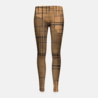 Thumbnail image of geometric square and circle pattern in brown Girl's leggings, Live Heroes