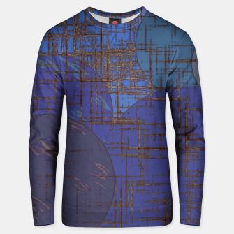 Miniatur geometric circle and square pattern abstract in blue and purple Unisex sweater, Live Heroes