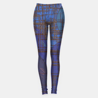 Thumbnail image of geometric circle and square pattern abstract in blue and purple Leggings, Live Heroes