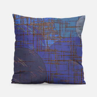 Thumbnail image of geometric circle and square pattern abstract in blue and purple Pillow, Live Heroes