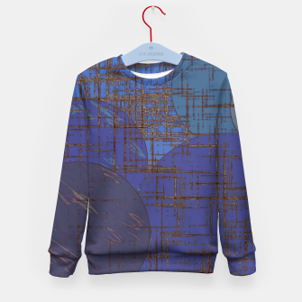 Thumbnail image of geometric circle and square pattern abstract in blue and purple Kid's sweater, Live Heroes