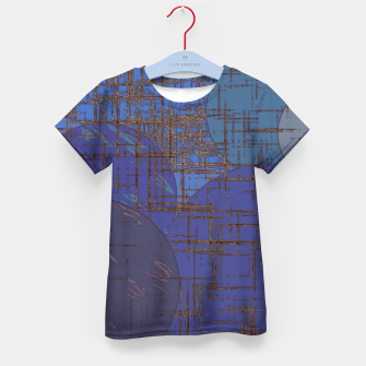Thumbnail image of geometric circle and square pattern abstract in blue and purple Kid's t-shirt, Live Heroes