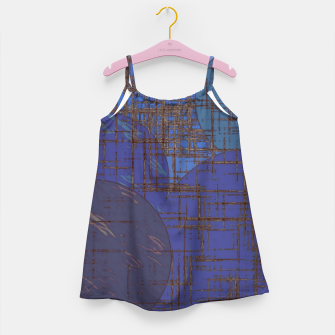 Thumbnail image of geometric circle and square pattern abstract in blue and purple Girl's dress, Live Heroes
