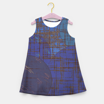 Thumbnail image of geometric circle and square pattern abstract in blue and purple Girl's summer dress, Live Heroes